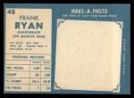 1961 Topps #48  Frank Ryan  Back Thumbnail