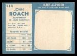 1961 Topps #114  John Roach  Back Thumbnail