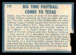 1961 Topps #19   -  Eddie LeBaron 1960 Football Highlights Back Thumbnail