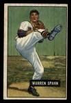 1951 Bowman #134  Warren Spahn  Front Thumbnail