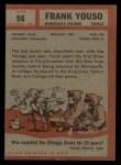 1962 Topps #96  Frank Youso  Back Thumbnail