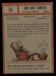 1962 Topps #30  Jim Ray Smith  Back Thumbnail