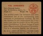 1950 Bowman #18  Val Jansante  Back Thumbnail