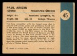 1961 Fleer #45   -  Paul Arizin In Action Back Thumbnail