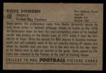 1952 Bowman Large #40  Steve Dowden  Back Thumbnail
