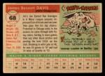 1955 Topps #68  Jim Davis  Back Thumbnail