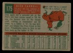 1959 Topps #175  Dick Farrell  Back Thumbnail