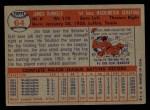 1957 Topps #64  Pete Runnels  Back Thumbnail