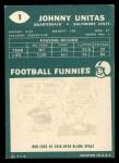 1960 Topps #1  Johnny Unitas  Back Thumbnail