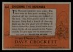 1956 Topps Davy Crockett #64 ORG  Checking The Defenses  Back Thumbnail