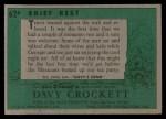 1956 Topps Davy Crockett #62 GRN  Brief Rest  Back Thumbnail