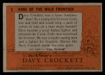 1956 Topps Davy Crockett #1 ORG  King of the Wild Frontier     Back Thumbnail