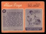 1970 Topps #59  Alan Page  Back Thumbnail