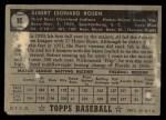 1952 Topps #10 BLK Al Rosen  Back Thumbnail