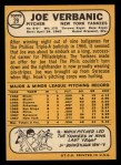1968 Topps #29  Joe Verbanic  Back Thumbnail