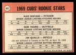 1969 Topps #602 ^COR^  -  Alec Distaso / Don Young / Jim Qualls Cubs Rookies Back Thumbnail