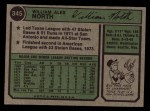 1974 Topps #345  Bill North  Back Thumbnail