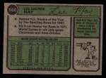 1974 Topps #500  Lee May  Back Thumbnail
