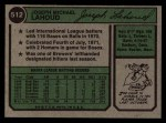 1974 Topps #512  Joe Lahoud  Back Thumbnail