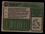 1974 Topps #528  Bill Bonham  Back Thumbnail