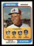 1974 Topps #531   -  Gene Mauch / Dave Bristol / Larry Doby / Cal McLish / Jerry Zimmerman Expos Leaders  Front Thumbnail