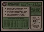 1974 Topps #540  Bob Robertson  Back Thumbnail