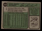 1974 Topps #348  Pete Richert  Back Thumbnail
