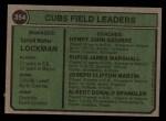 1974 Topps #354   -  Whitey Lockman / Hank Aguirre / Jim Marshall / J.C. Martin / Al Spangler Cubs Leaders   Back Thumbnail