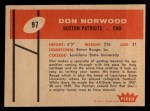 1960 Fleer #97  Don Norwood  Back Thumbnail
