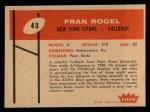 1960 Fleer #43  Fran Rogel  Back Thumbnail