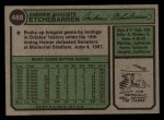 1974 Topps #488  Andy Etchebarren  Back Thumbnail