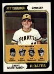 1974 Topps #489   -  Danny Murtaugh / Don Leppert / Bill Mazeroski / Don Osborn / Bob Skinner Pirates Leaders   Front Thumbnail