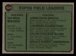1974 Topps #531   -  Gene Mauch / Dave Bristol / Larry Doby / Cal McLish / Jerry Zimmerman Expos Leaders  Back Thumbnail