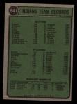 1974 Topps #541   Indians Team Back Thumbnail