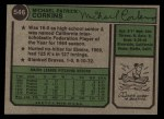 1974 Topps #546  Mike Corkins  Back Thumbnail