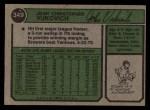 1974 Topps #349  John Vukovich  Back Thumbnail