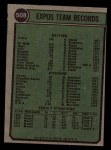 1974 Topps #508   Expos Team Back Thumbnail