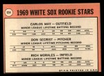 1969 Topps #654   -  Carlos May / Rich Morales / Don Secrist White Sox Rookies   Back Thumbnail