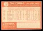 1964 Topps #134  Don Zimmer  Back Thumbnail