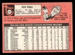 1969 Topps #322  Jose Vidal  Back Thumbnail