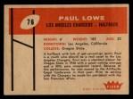 1960 Fleer #76  Paul Lowe  Back Thumbnail