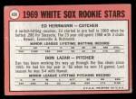 1969 Topps #439   -  Ed Herrmann / Dan Lazar White Sox Rookies Back Thumbnail