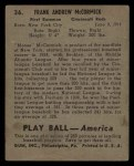 1939 Play Ball #36  Frank McCormick  Back Thumbnail