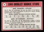 1969 Topps #66   -  Mike Adamson / Merv Rettenmund Orioles Rookies Back Thumbnail
