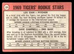 1969 Topps #324   -  Les Cain / Dave Campbell Tigers Rookies Back Thumbnail