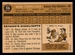 1960 Topps #26  Wayne Terwilliger  Back Thumbnail