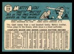 1965 Topps #318  Matty Alou  Back Thumbnail