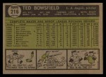 1961 Topps #216  Ted Bowsfield  Back Thumbnail
