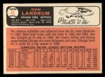 1966 Topps #43 ^DRK^ Don Landrum  Back Thumbnail