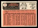 1966 Topps #458  Manny Jimenez  Back Thumbnail